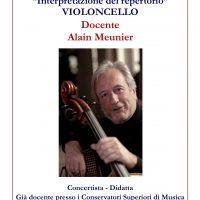 Violoncello: Corsi Annuali di Interpretazione del repertorio e Ammissioni Biennio Accademico di 2° livello – Docente Alain Meunier