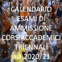 Calendario esami di Ammissione triennio accademico studenti provenienti da Licei Musicali