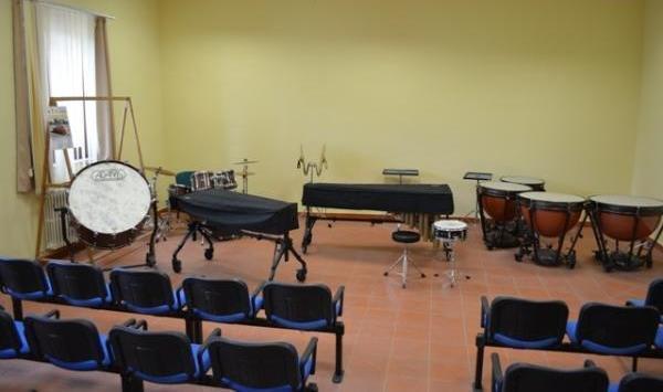 L'aula Percussioni dell'Istituto Musicale di Caltanissetta